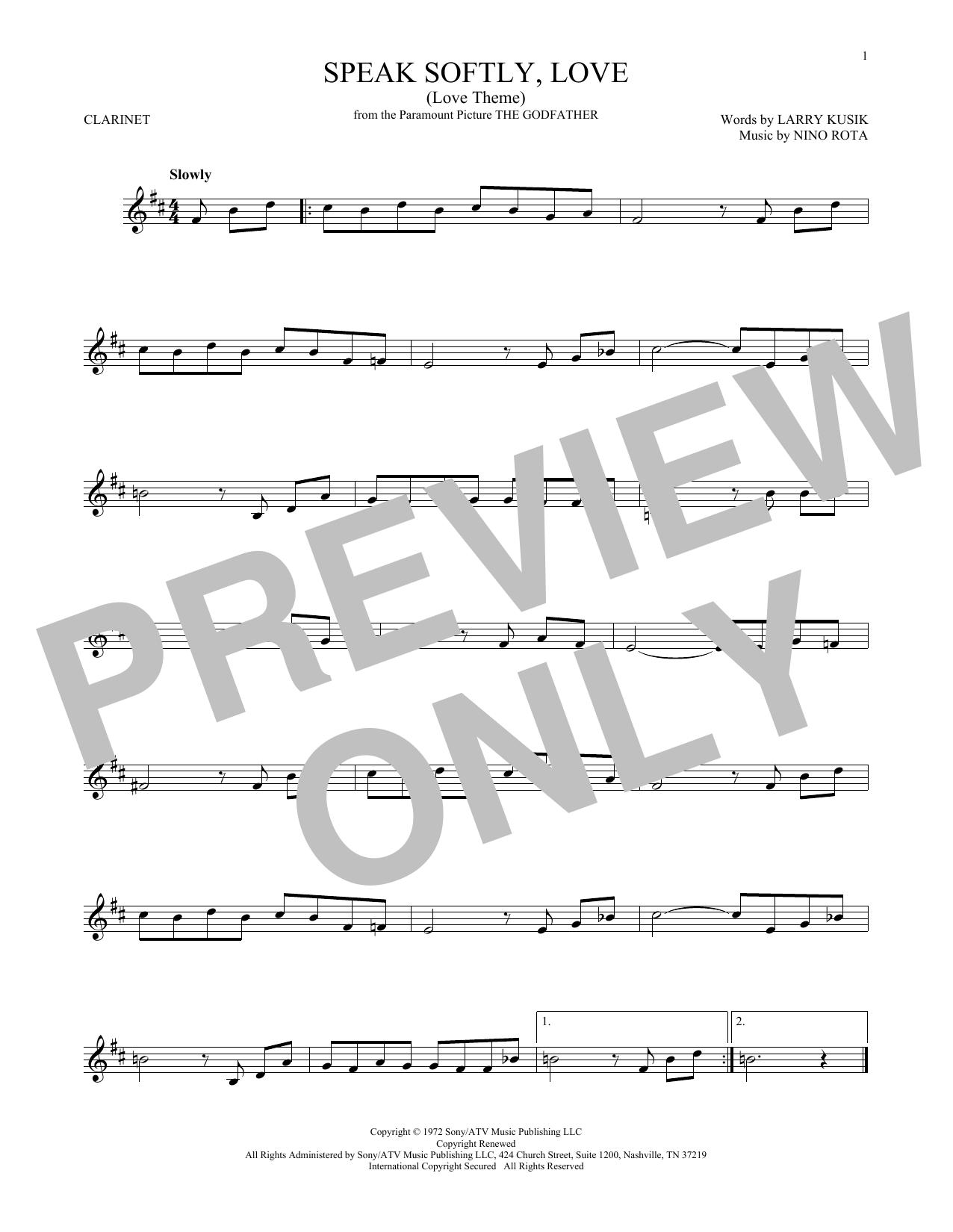 Speak Softly, Love (Love Theme) (Clarinet Solo)