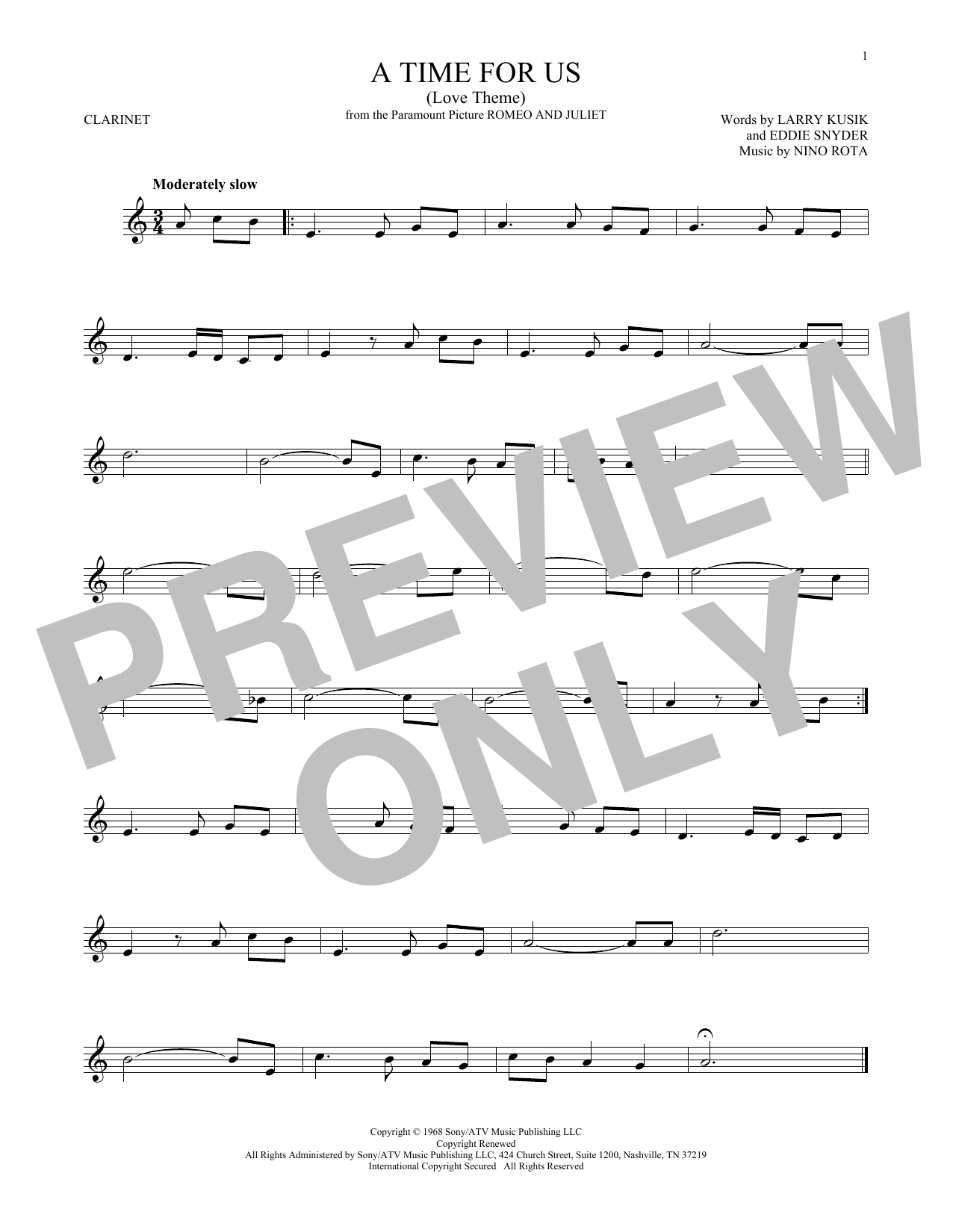 A Time For Us (Love Theme) (Clarinet Solo)