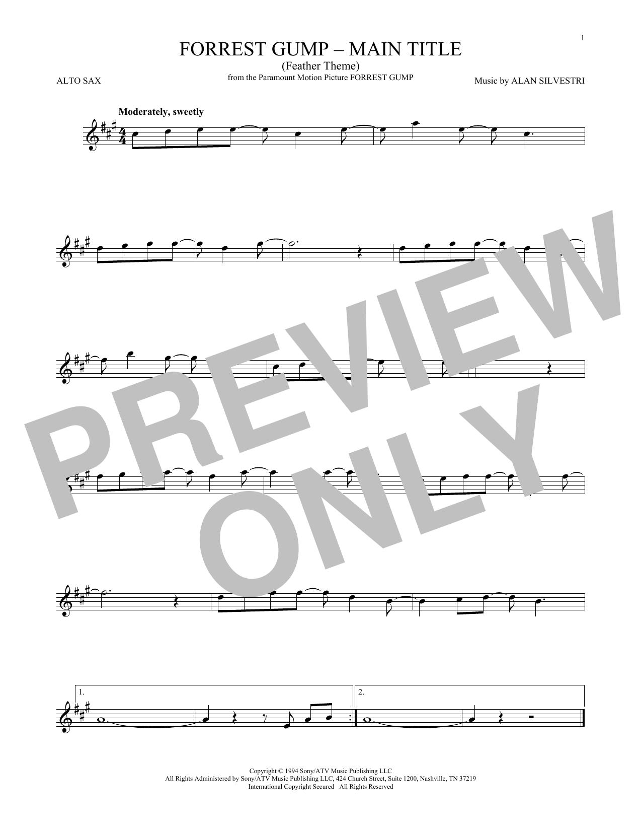 Forrest Gump - Main Title (Feather Theme) (Alto Sax Solo)