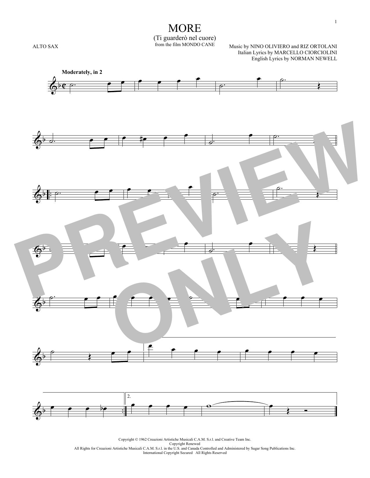 More (Ti Guardero Nel Cuore) (Alto Sax Solo)