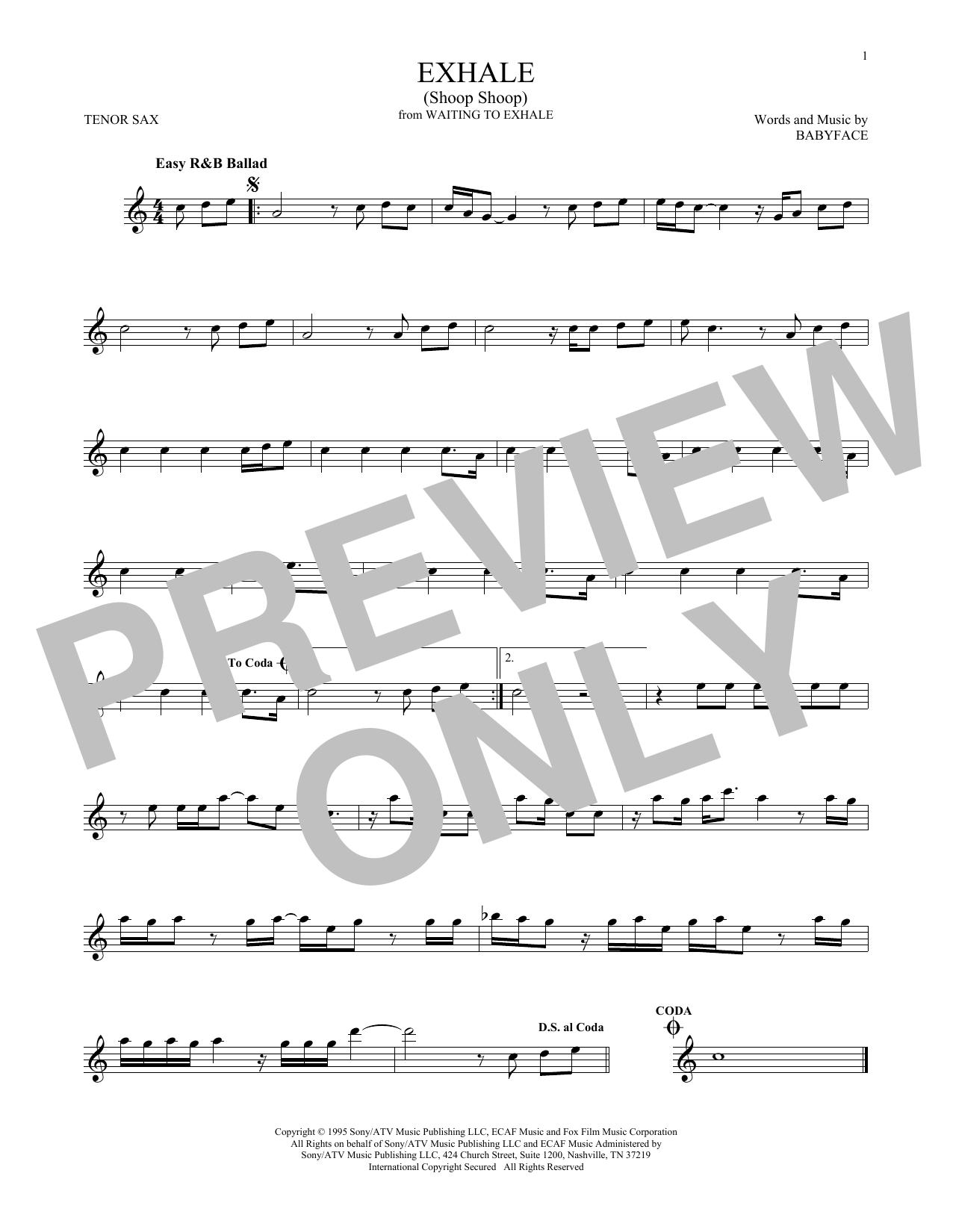 Exhale (Shoop Shoop) (Tenor Sax Solo)