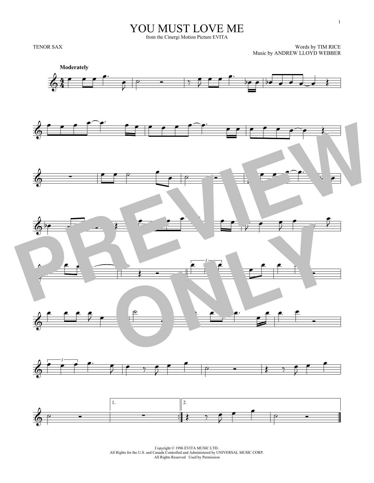 You Must Love Me (from Evita) (Tenor Sax Solo)