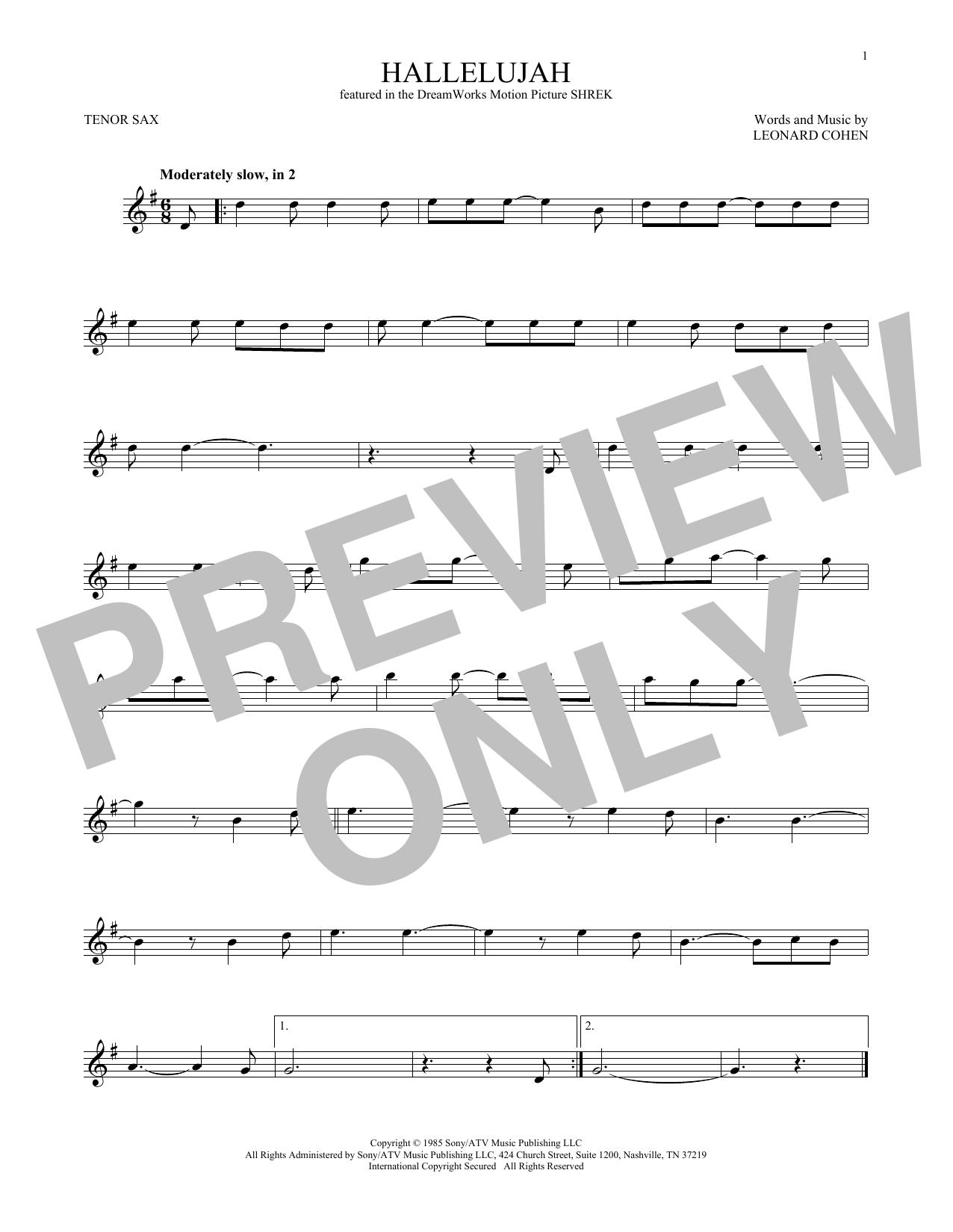 Hallelujah (Tenor Sax Solo)