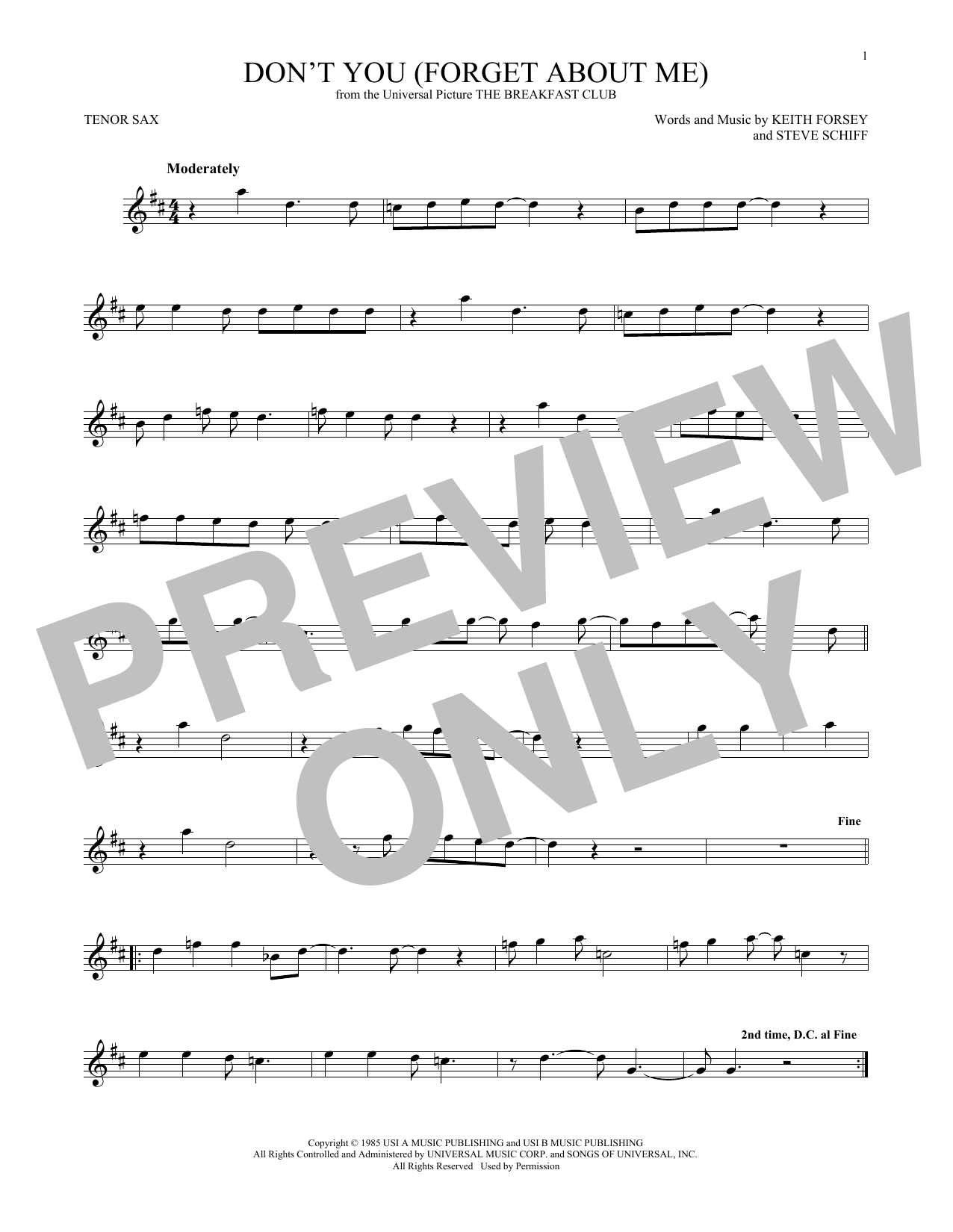 Don't You (Forget About Me) (Tenor Sax Solo)