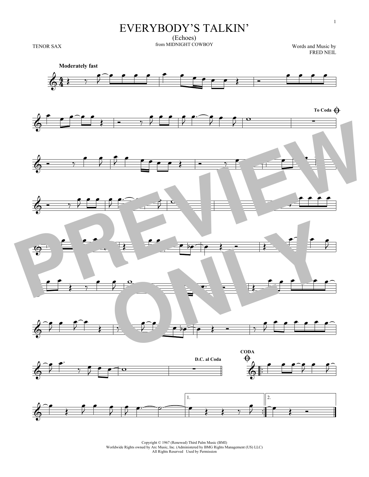 page one of Everybody's Talkin' (Echoes)ASALTTEXT