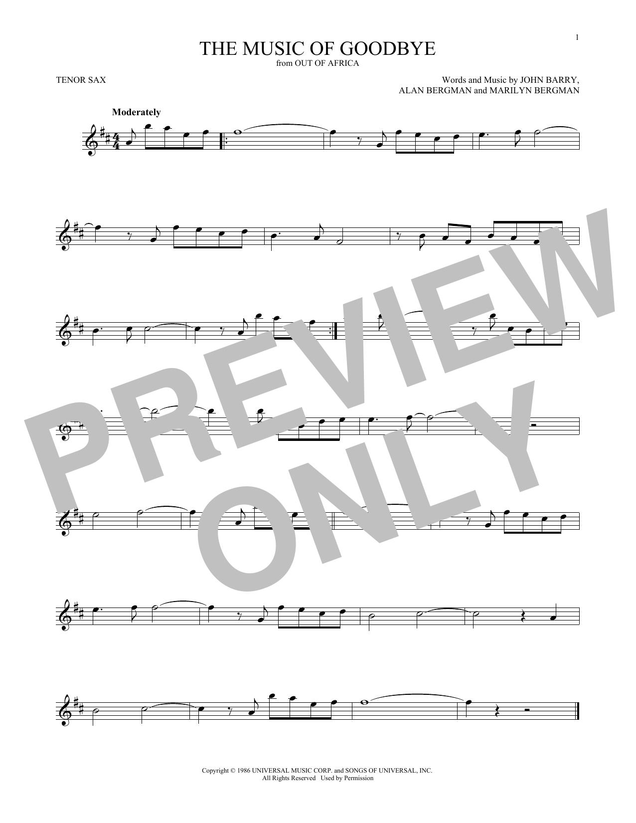 The Music Of Goodbye (Tenor Sax Solo)