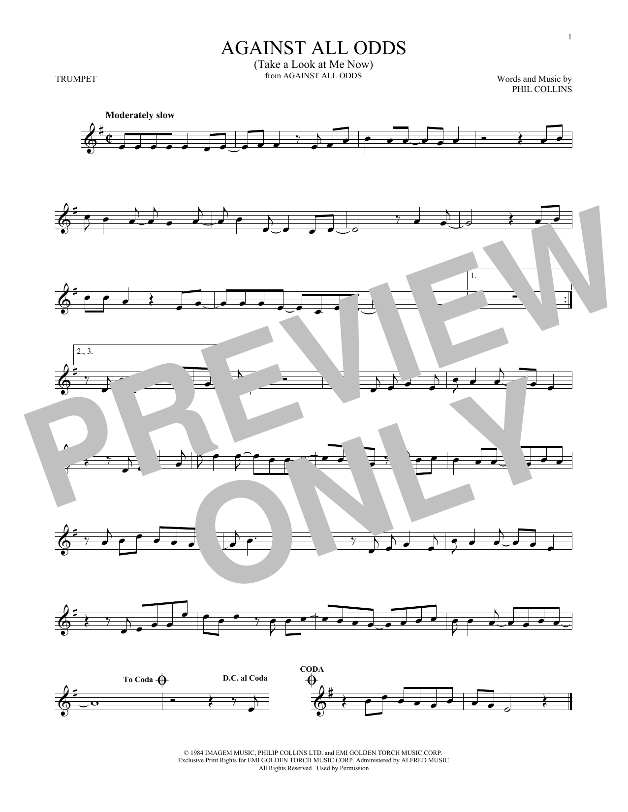Against All Odds (Take A Look At Me Now) | Sheet Music Direct | 1276 x 1650 png 142kB