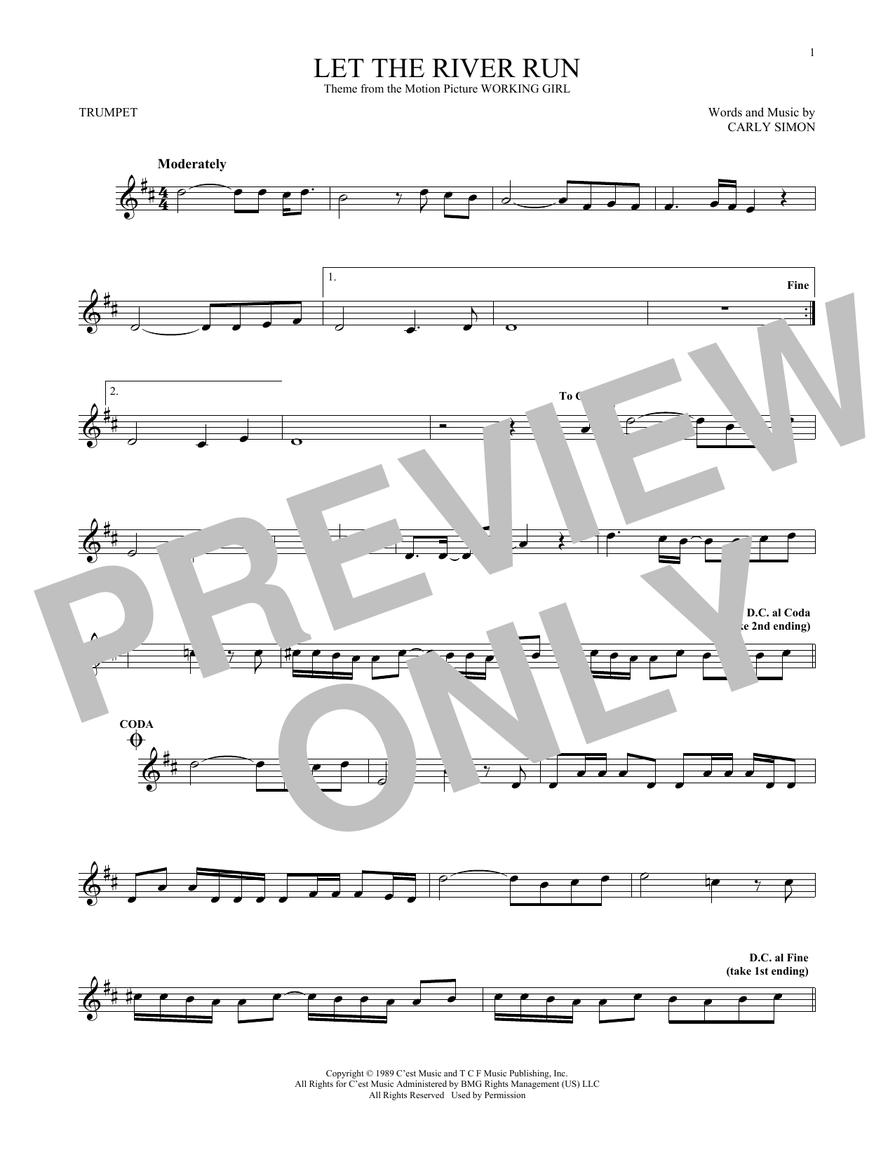 Let The River Run (Trumpet Solo)