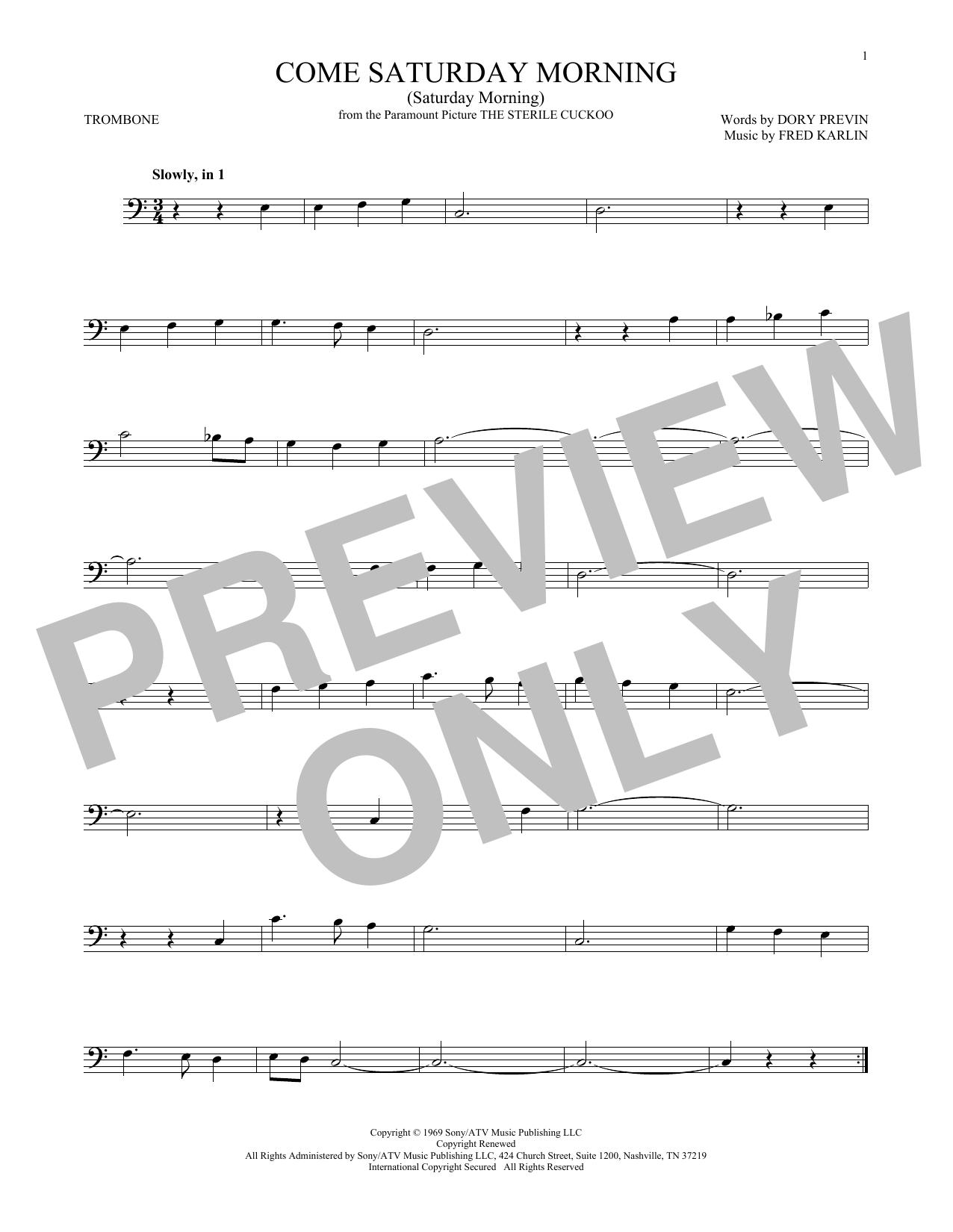 Come Saturday Morning (Saturday Morning) (Trombone Solo)