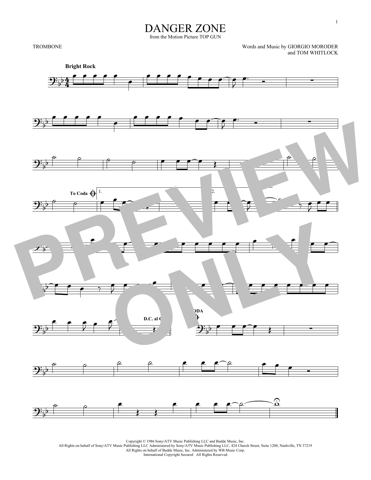 Danger Zone Sheet Music