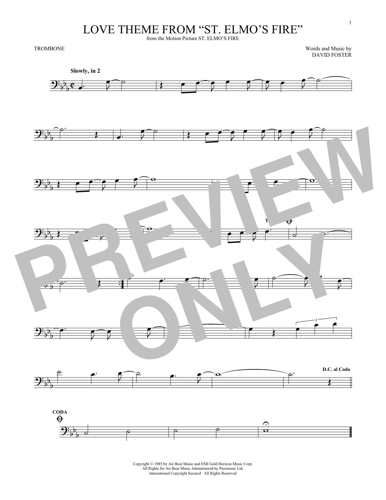 "Love Theme From ""St. Elmo's Fire"" (Trombone Solo)"