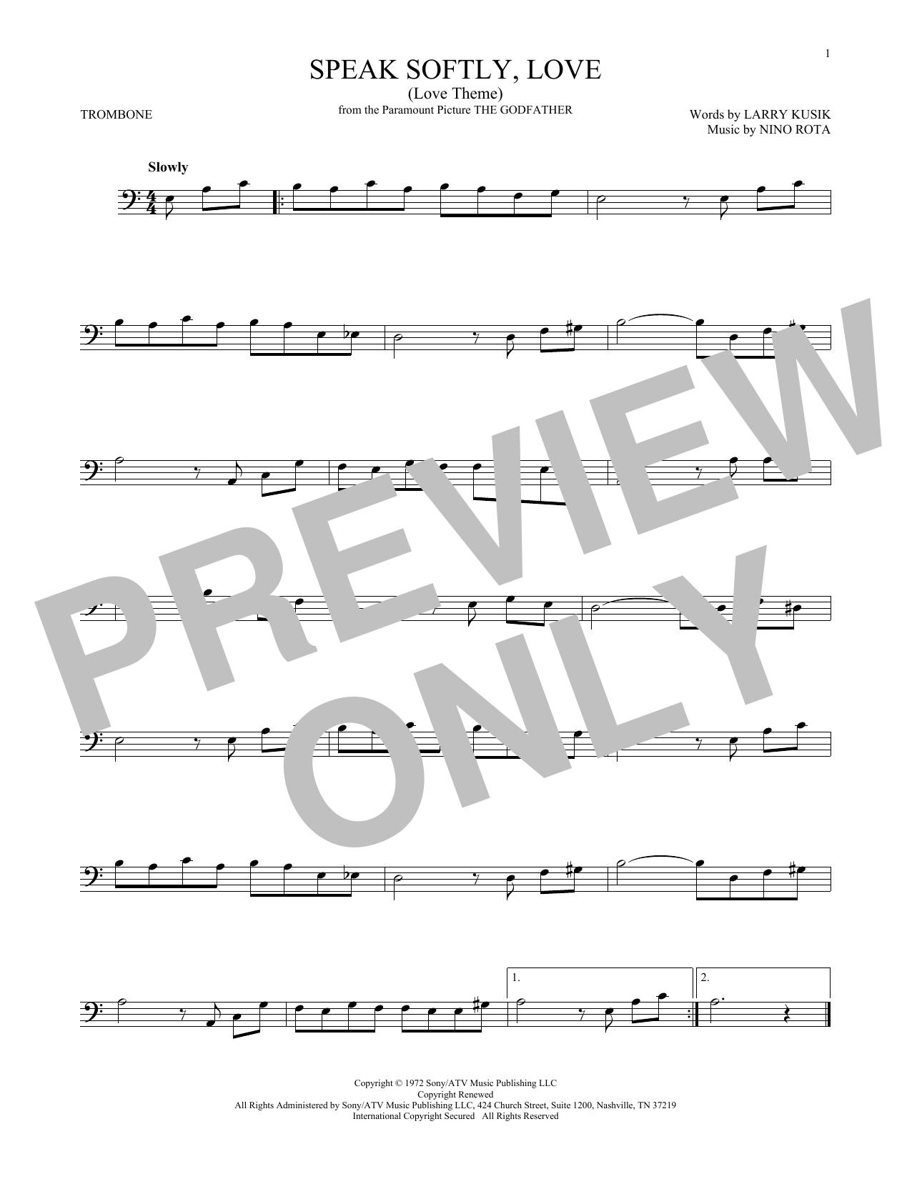 Speak Softly, Love (Love Theme) (Trombone Solo)