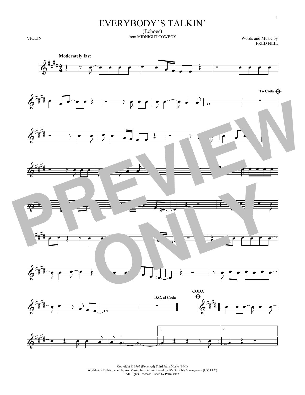 Everybody's Talkin' (Echoes) (Violin Solo)