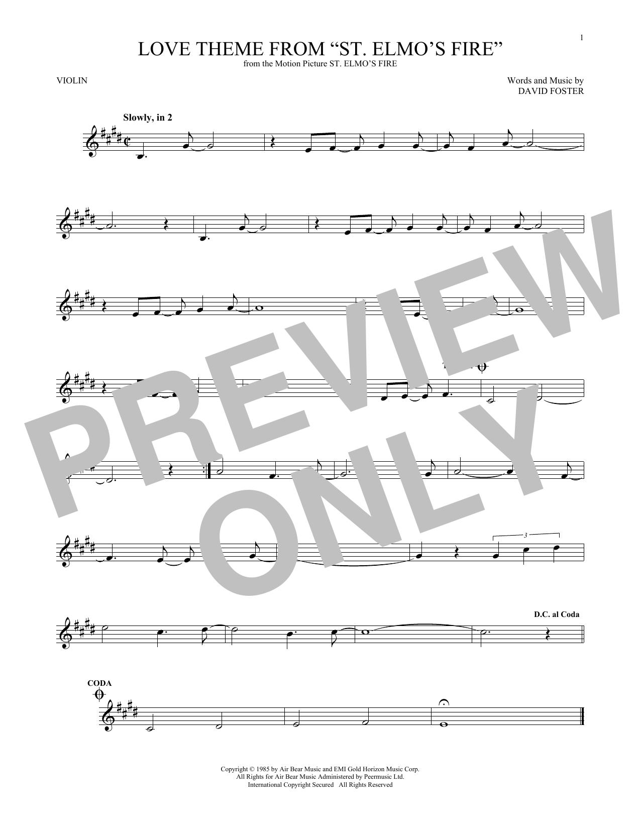 "Love Theme From ""St. Elmo's Fire"" (Violin Solo)"