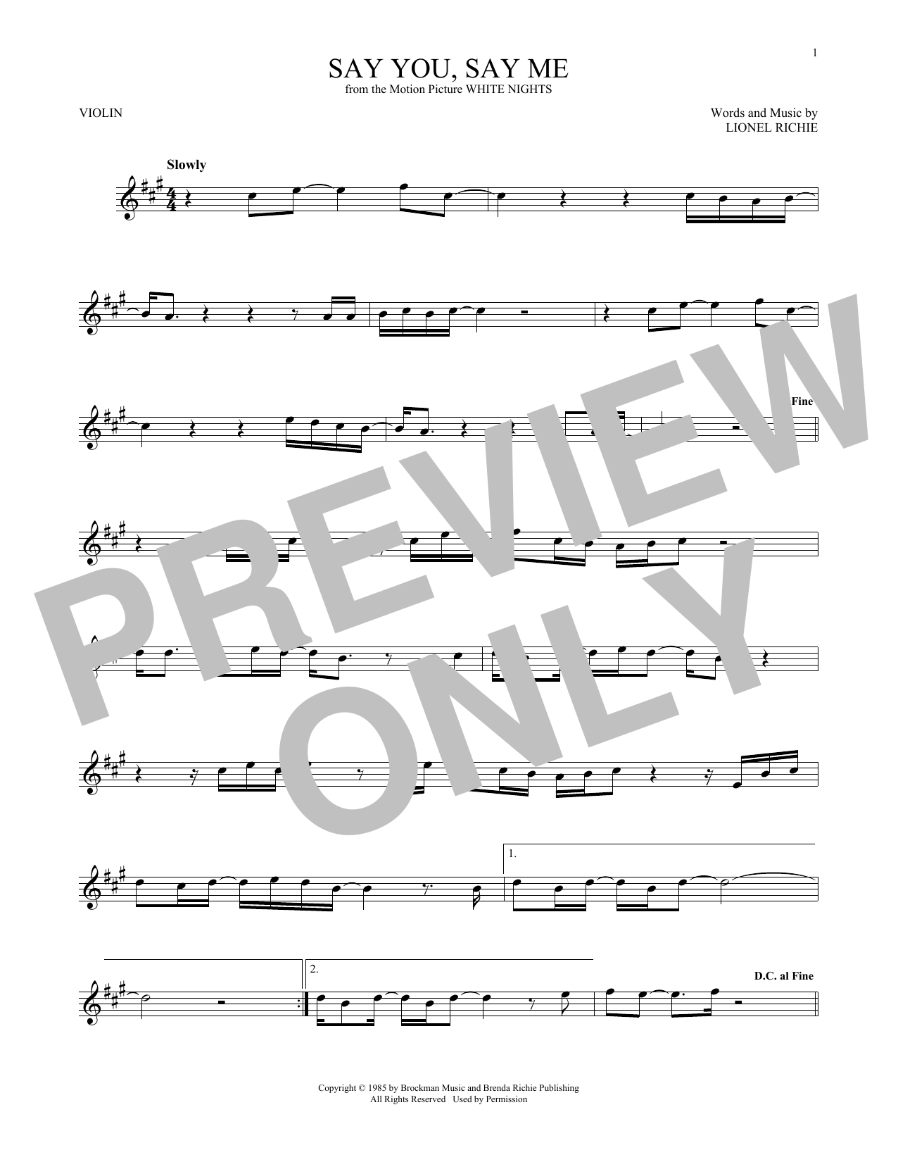 Truly lionel richie sheet music