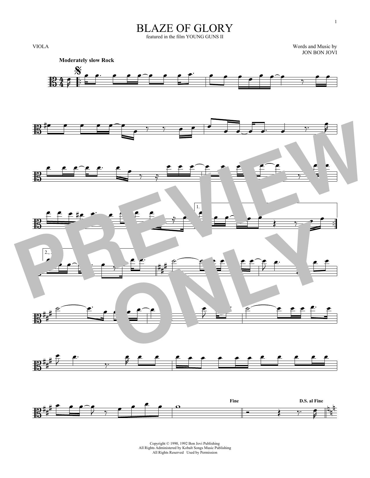 Blaze Of Glory (Viola Solo)
