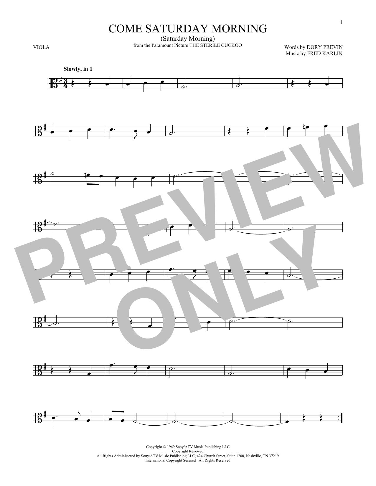 Come Saturday Morning (Saturday Morning) (Viola Solo)