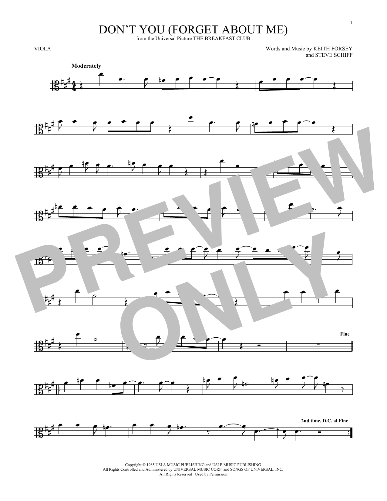 Don't You (Forget About Me) (Viola Solo)