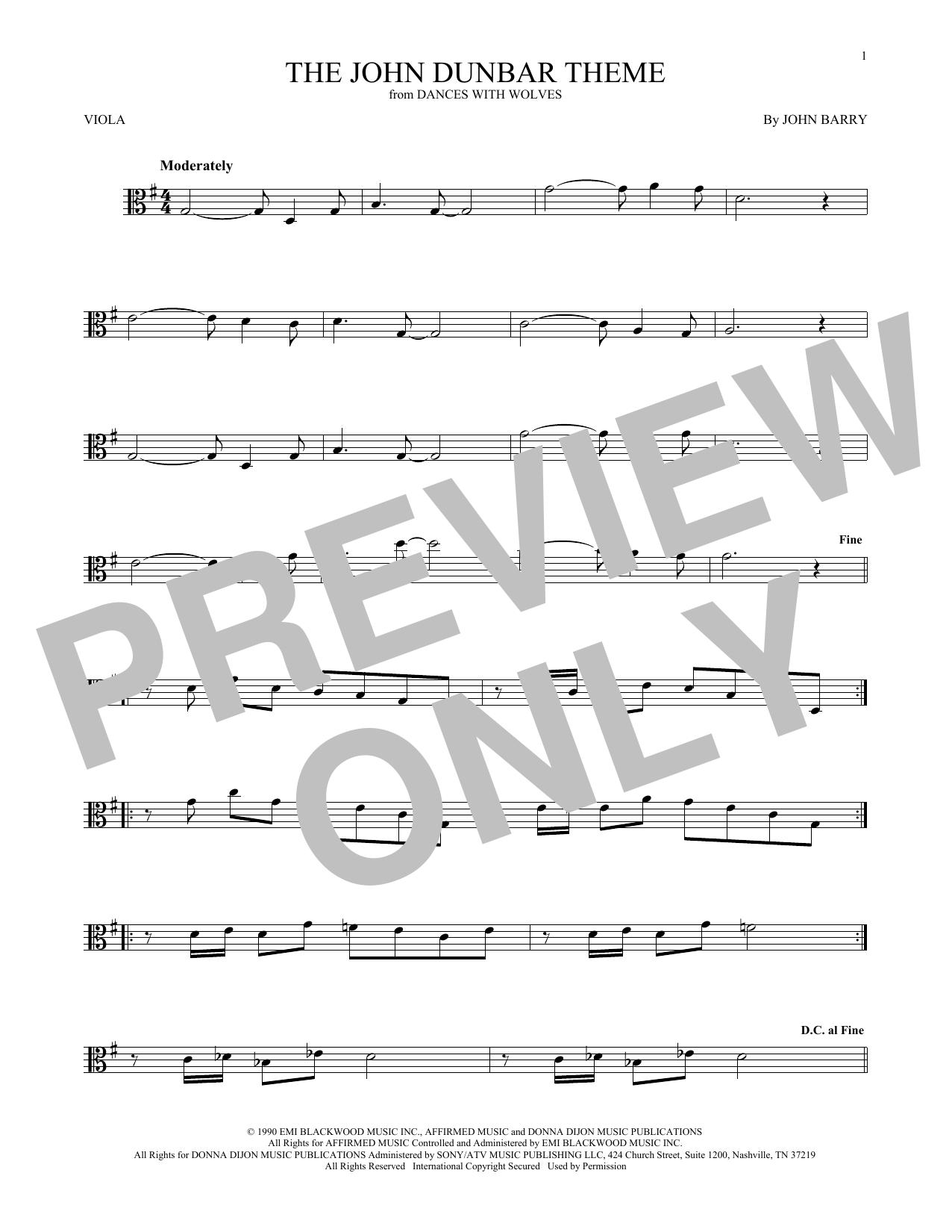 The John Dunbar Theme (Viola Solo)