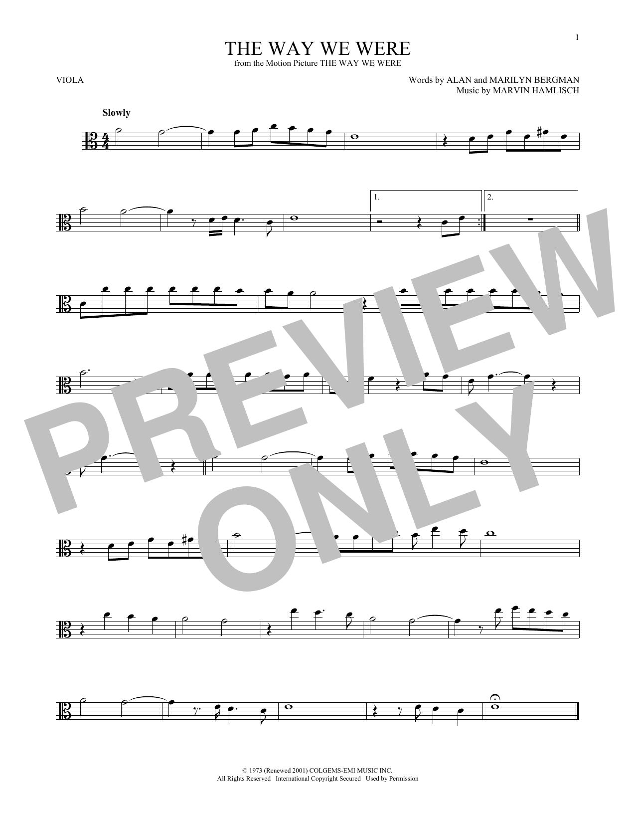 The Way We Were (Viola Solo)
