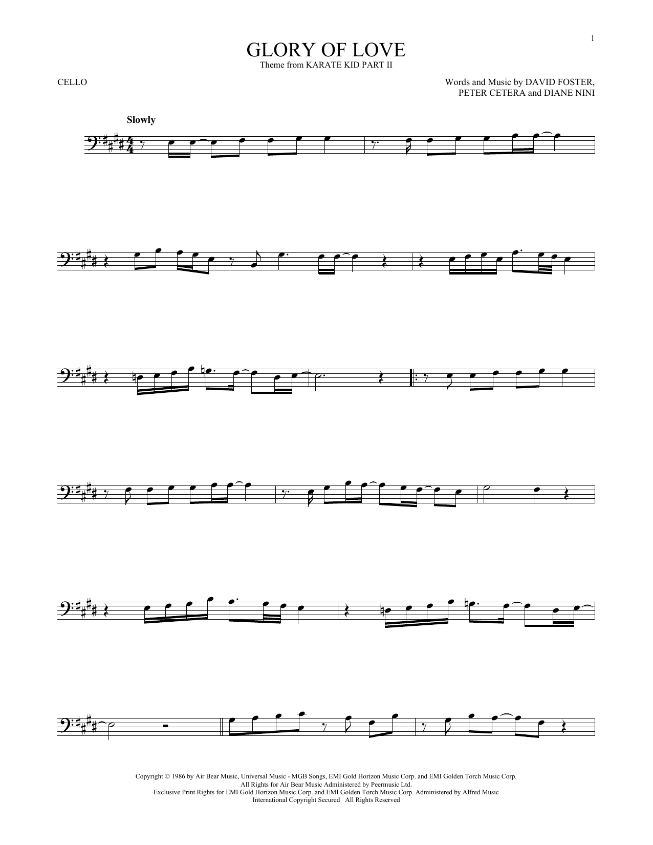Glory Of Love Cello Solo Print Sheet Music Now