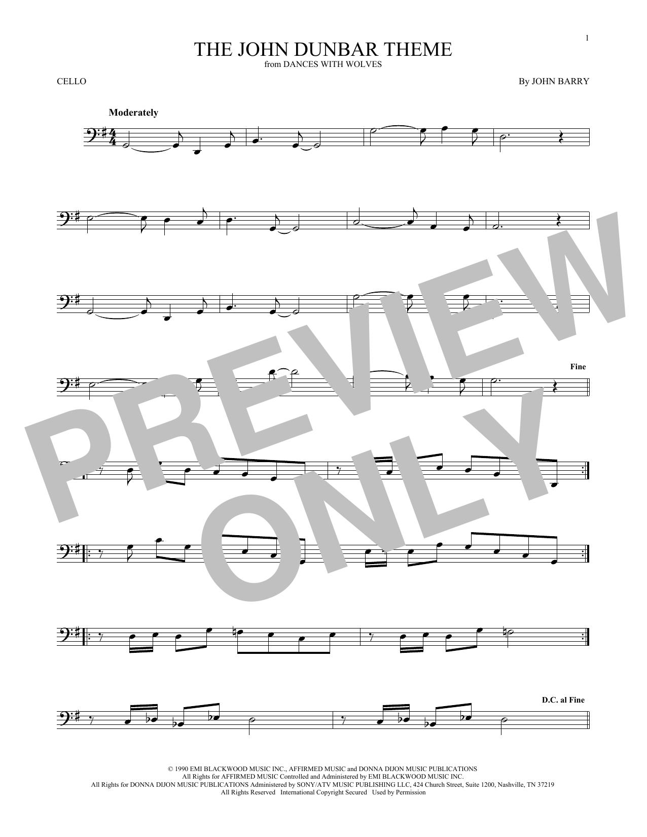 The John Dunbar Theme (Cello Solo)