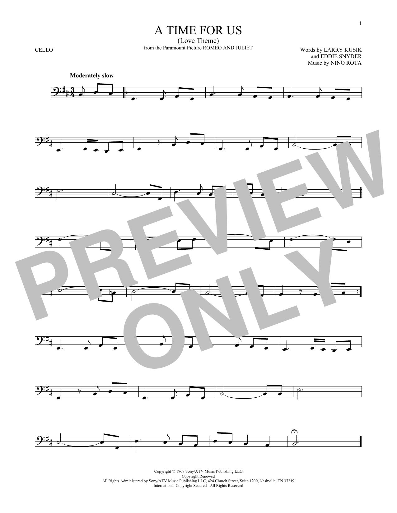 A Time For Us (Love Theme) (Cello Solo)