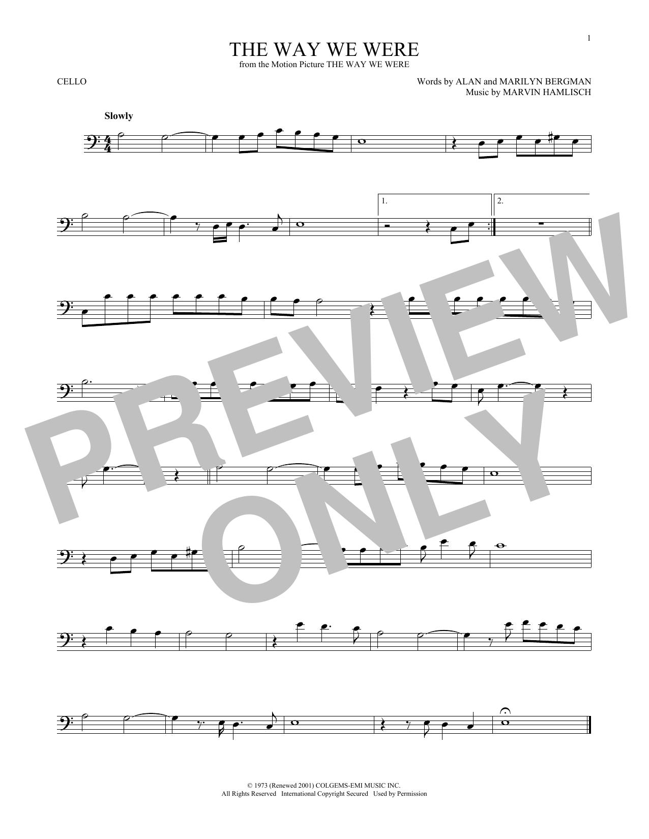 The Way We Were (Cello Solo)