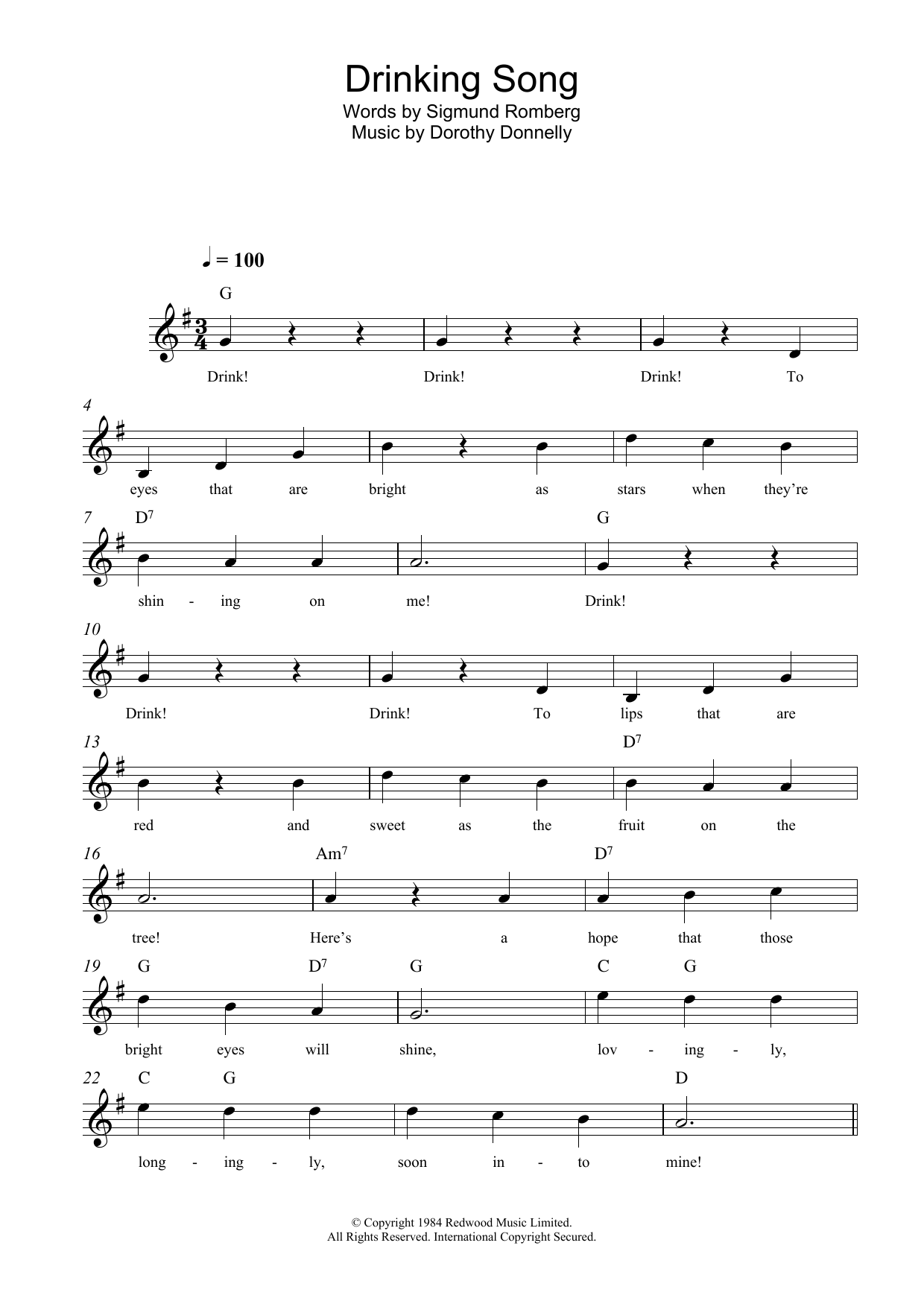 Drinking Song Sheet Music