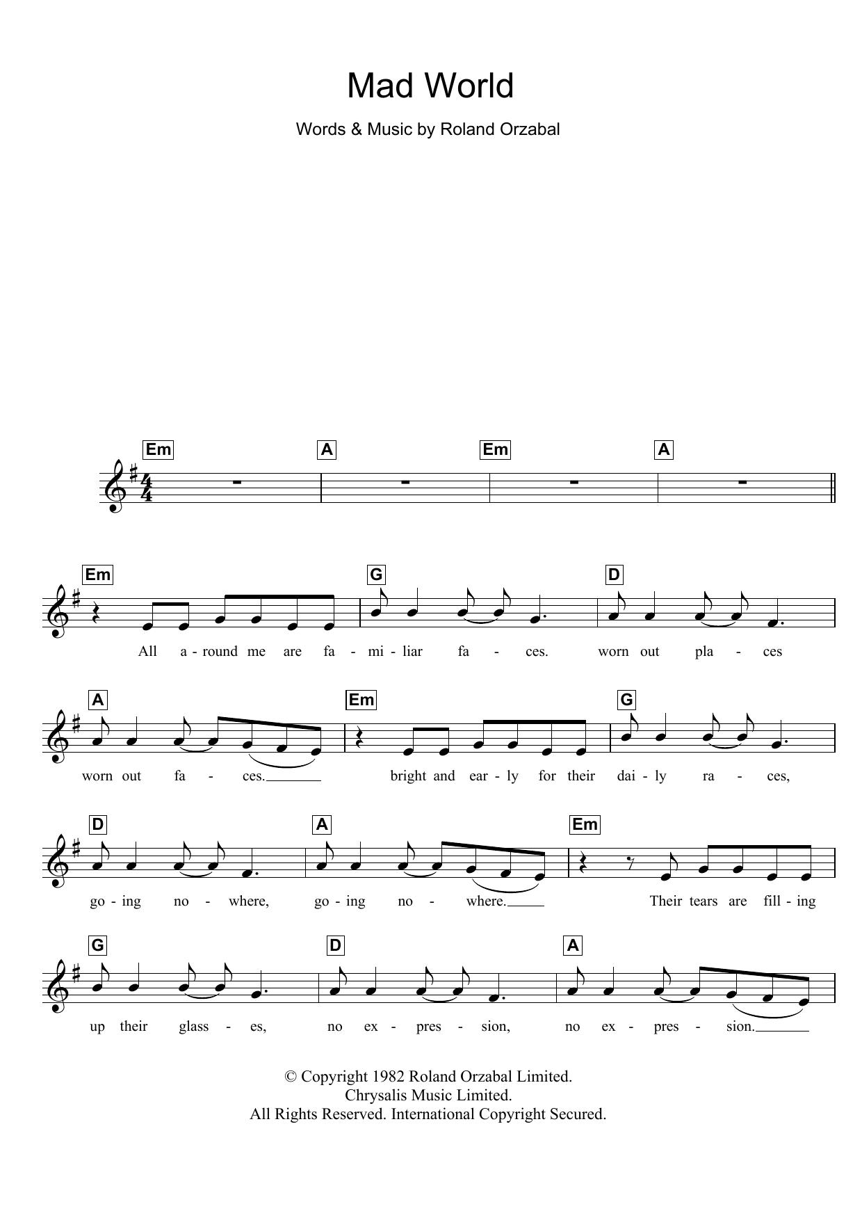 Mad World (from Donnie Darko) Sheet Music