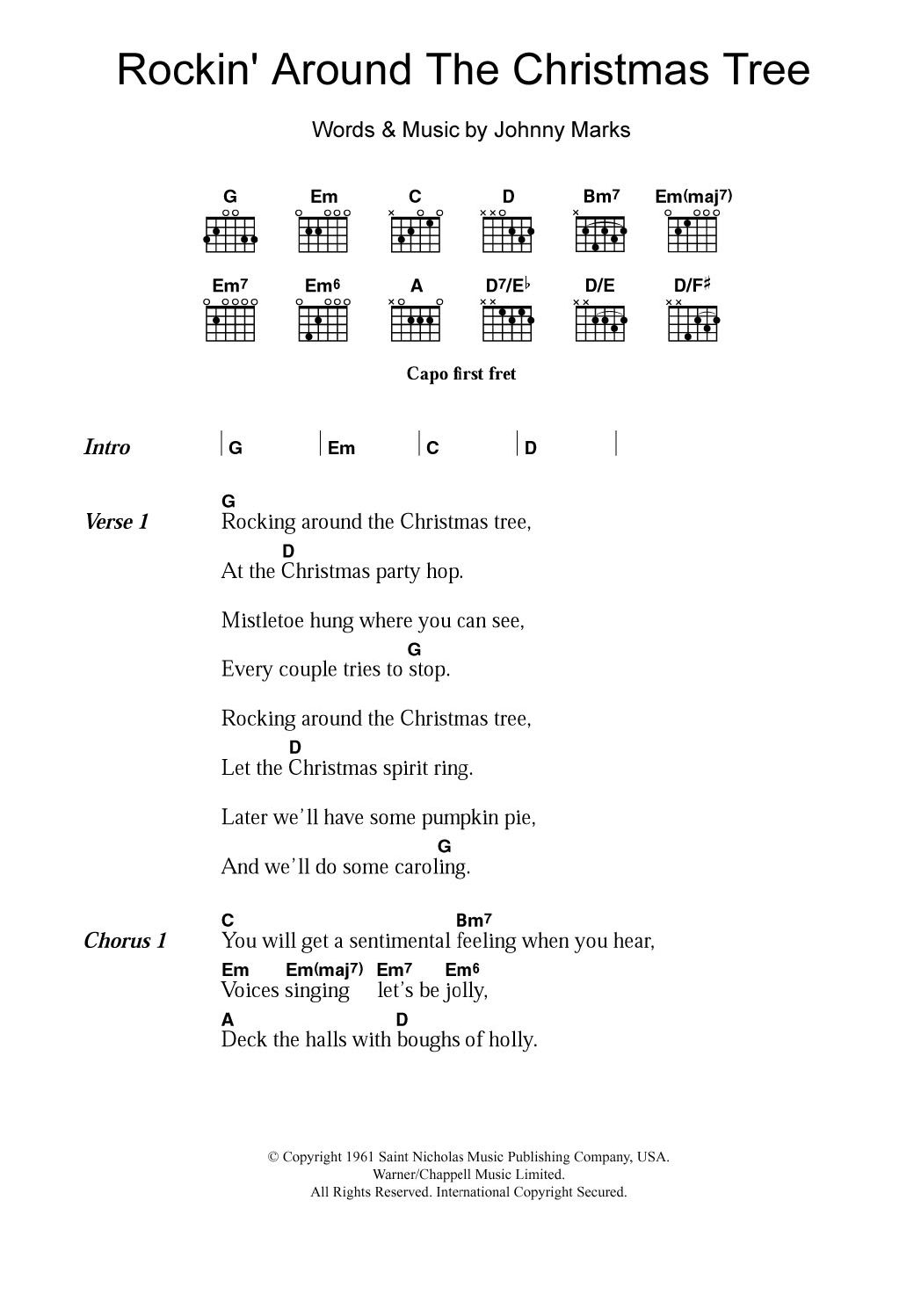 Rockin' Around The Christmas Tree Sheet Music | Brenda Lee | Lyrics ...