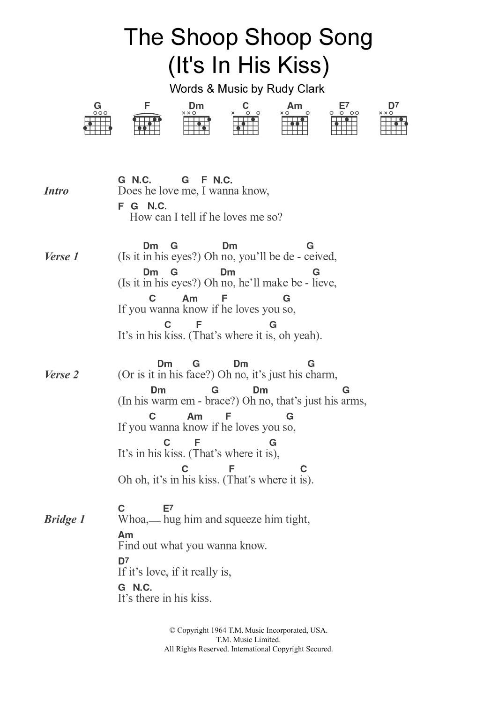 The Shoop Shoop Song (It's In His Kiss) Sheet Music