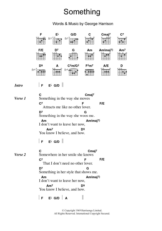 Something Sheet Music   The Beatles   Guitar Chords/Lyrics