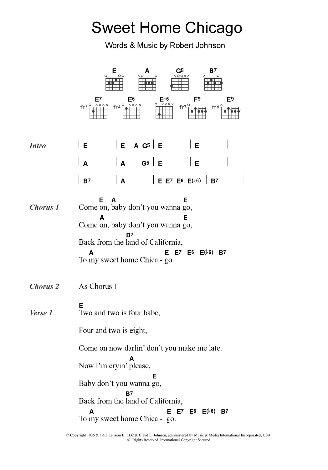 Sweet Home Chicago By Eric Clapton Guitar Chords Lyrics