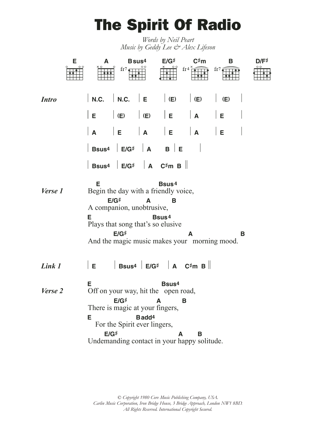 The Spirit Of Radio By Rush Guitar Chords Lyrics Guitar Instructor