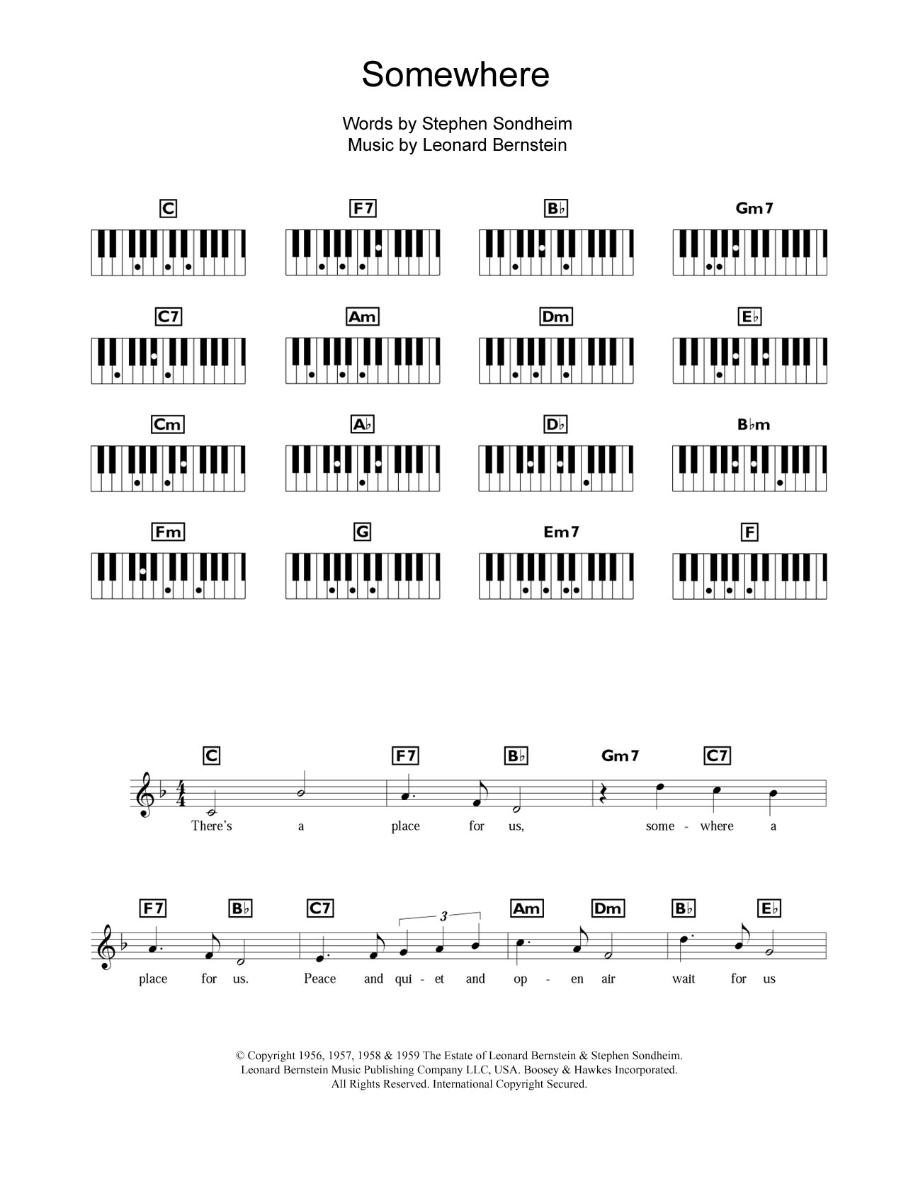 Somewhere (from West Side Story) Sheet Music