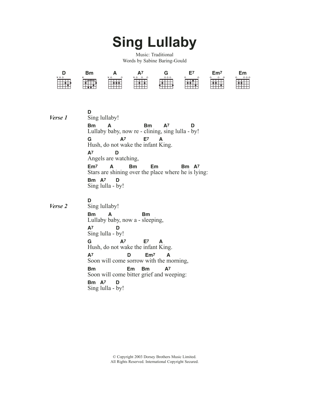 Sing Lullaby By Traditional Carol Guitar Chordslyrics Guitar