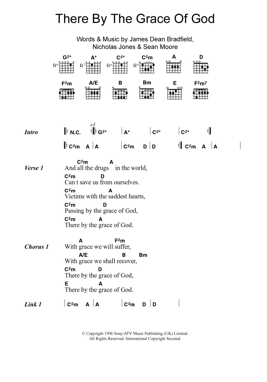 There By The Grace Of God By Manic Street Preachers Guitar Chords