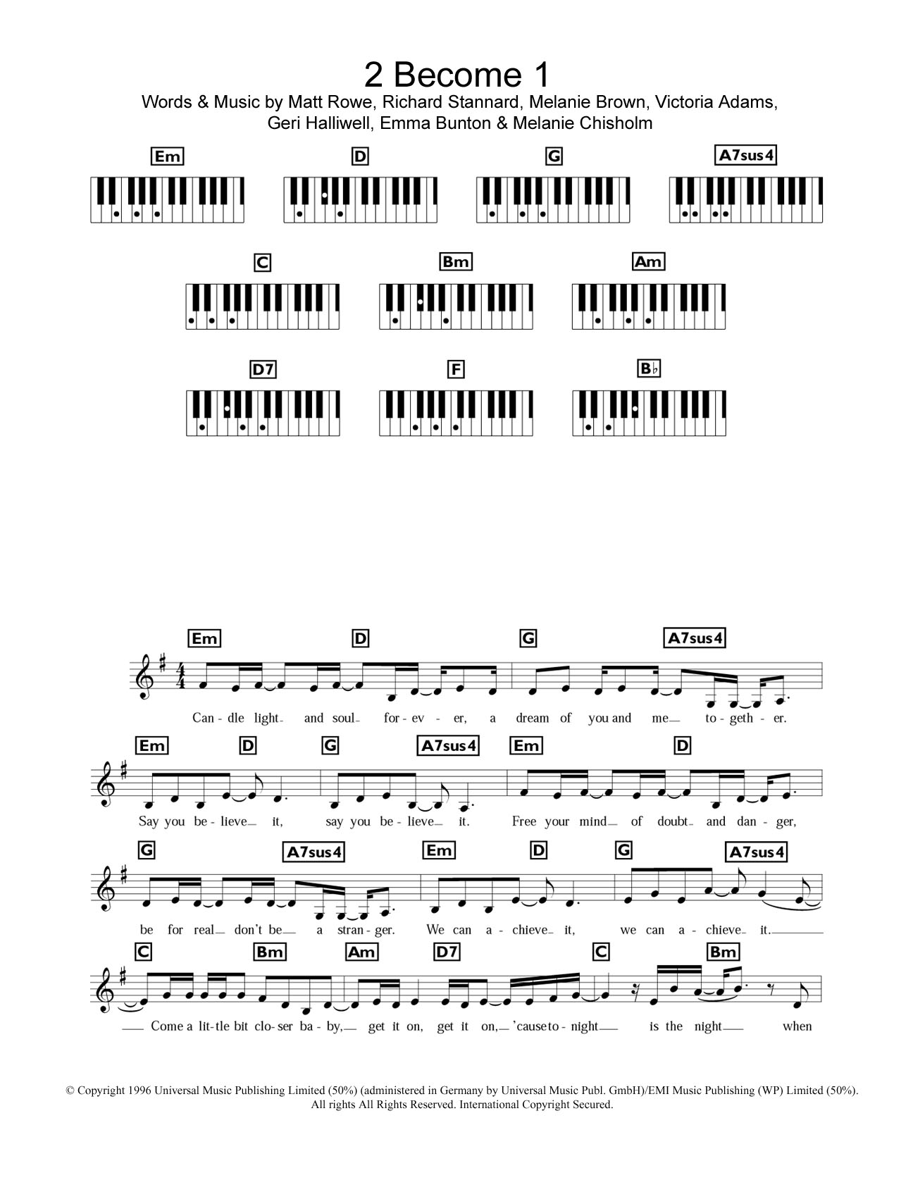 2 Become 1 Sheet Music