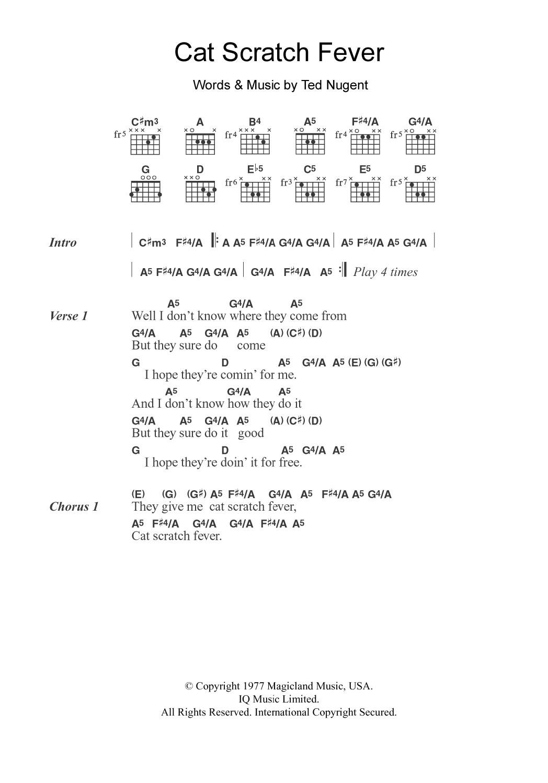 Cat Scratch Fever Ted Nugent Chords