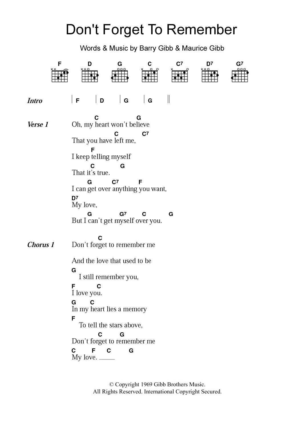 Don't Forget To Remember by Bee Gees   Guitar Chords/Lyrics ...