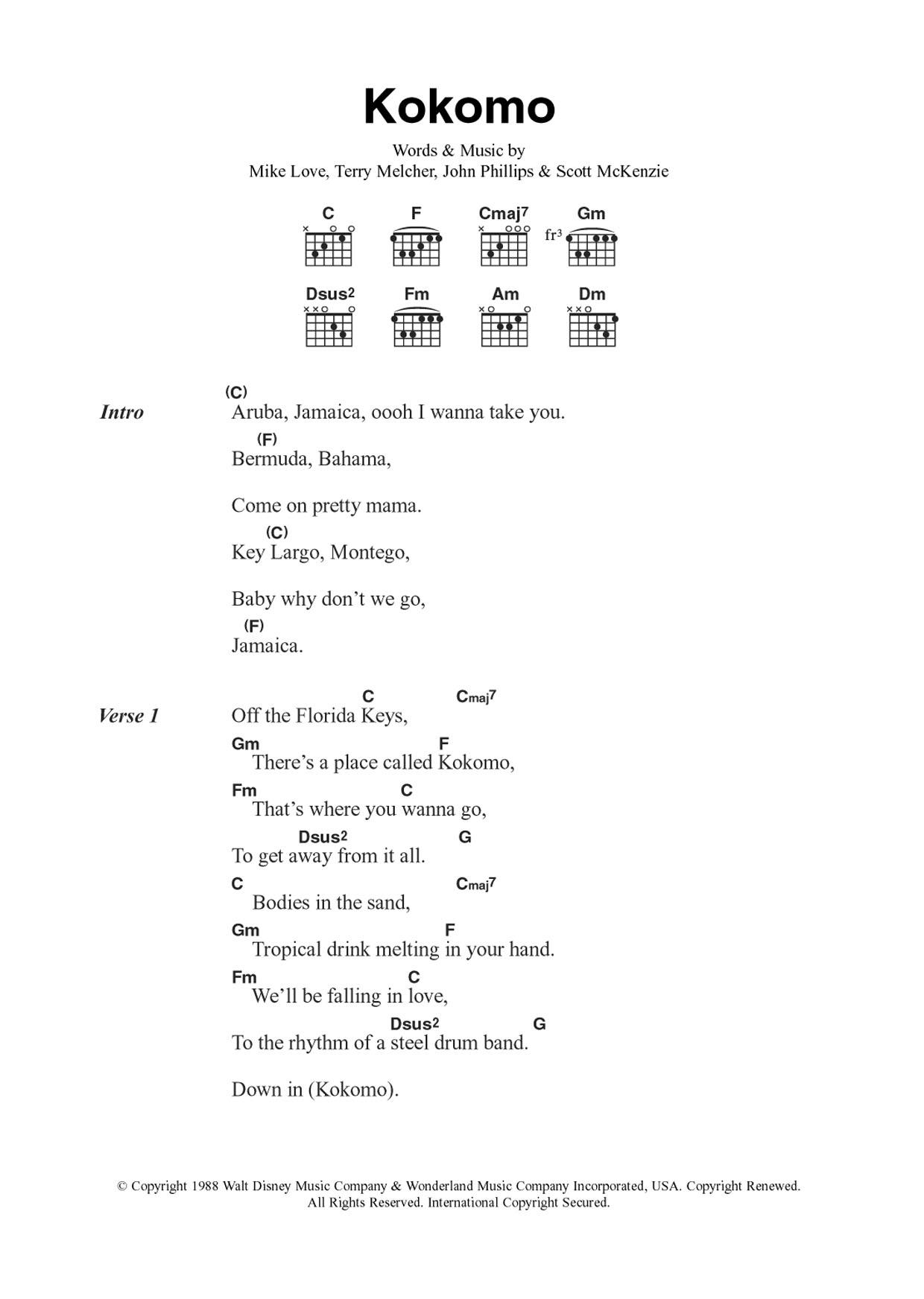 Kokomo Sheet Music