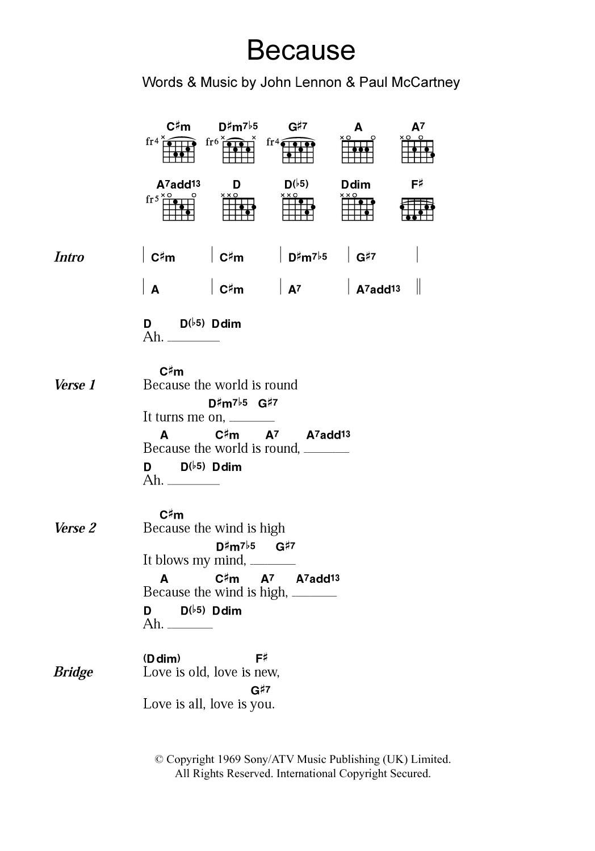 Because Sheet Music | The Beatles | Guitar Chords/Lyrics