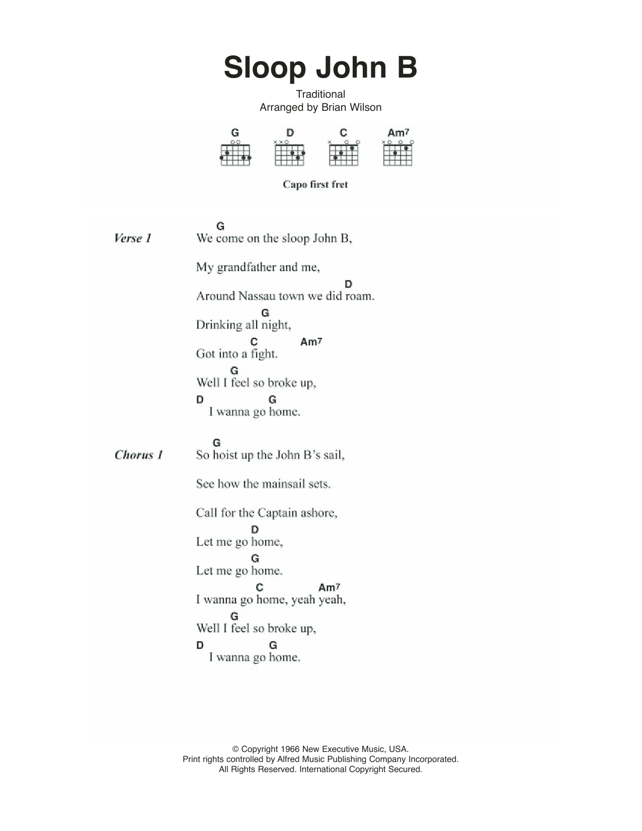 Sloop John B Sheet Music