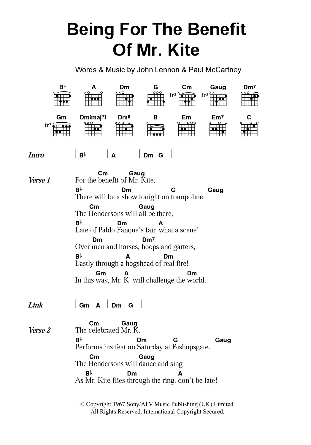 Being For The Benefit Of Mr Kite By The Beatles Guitar Chords