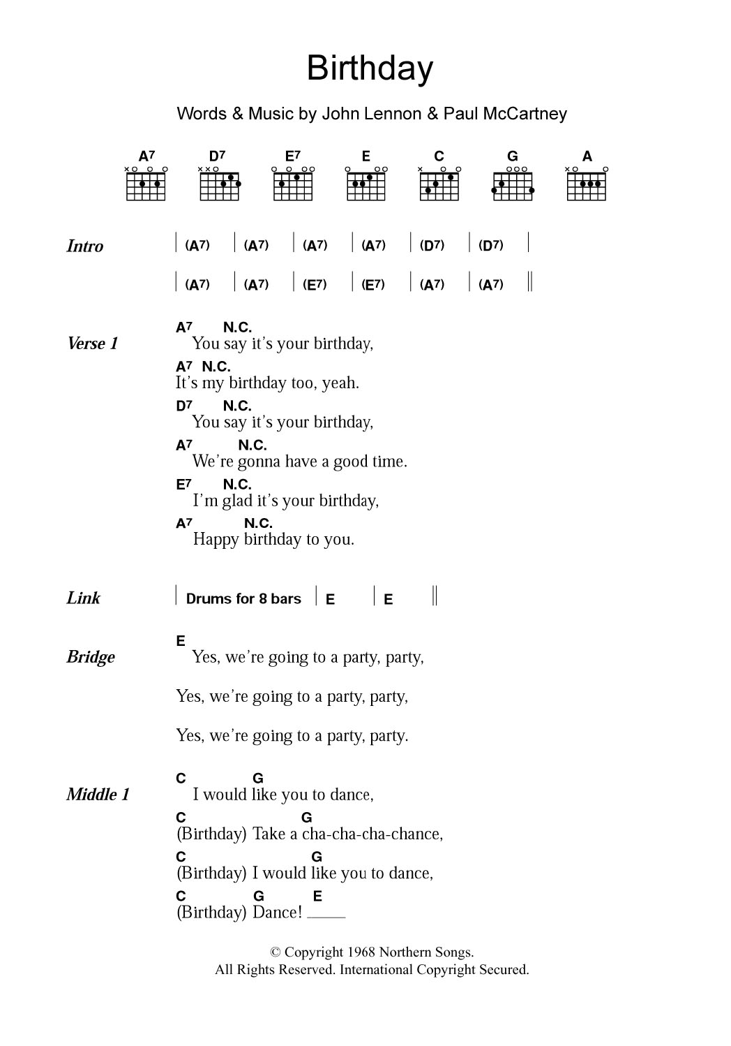 Birthday By The Beatles Guitar Chordslyrics Guitar Instructor