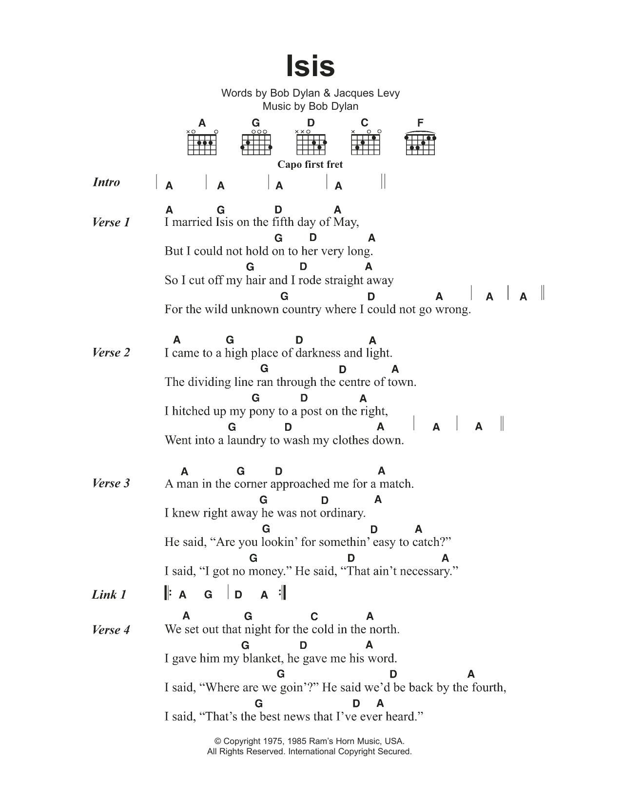 Isis by Bob Dylan - Guitar Chords/Lyrics - Guitar Instructor