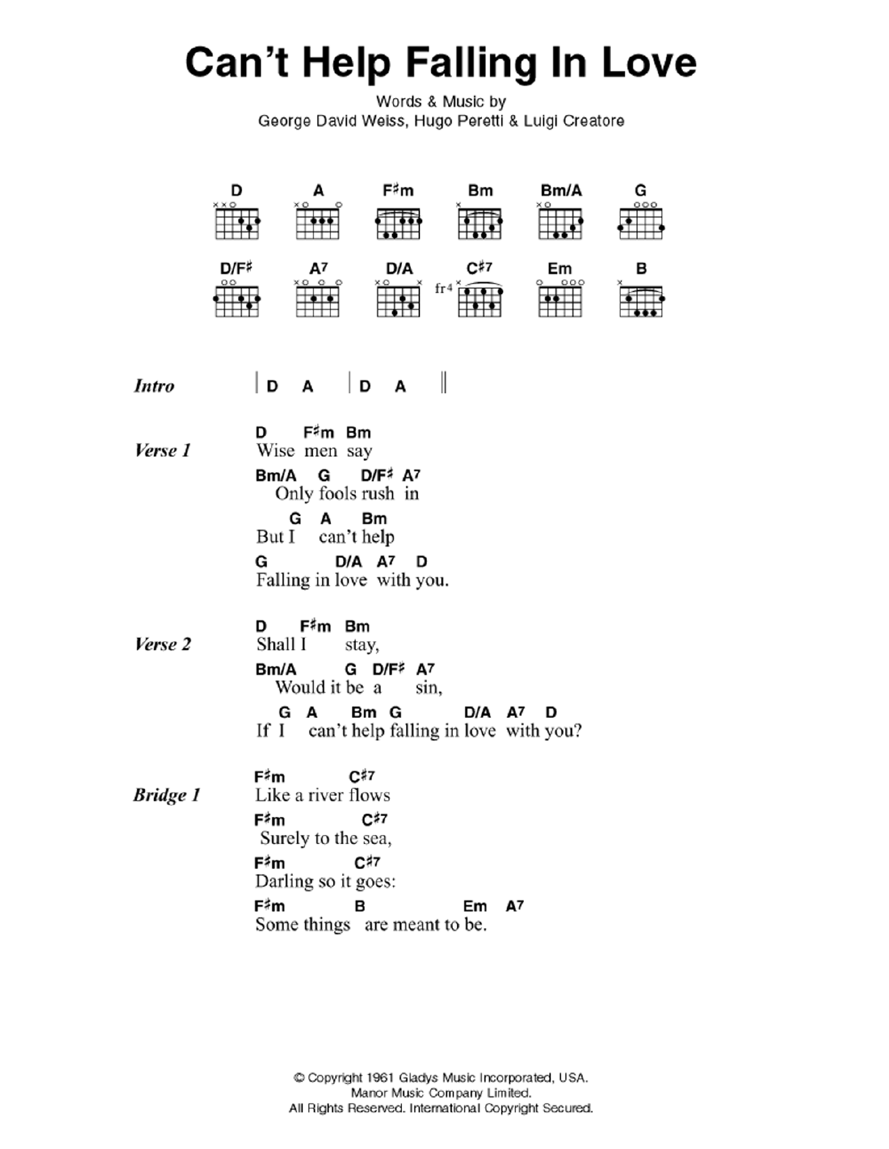 Cant Help Falling In Love Sheet Music Elvis Presley Lyrics Chords
