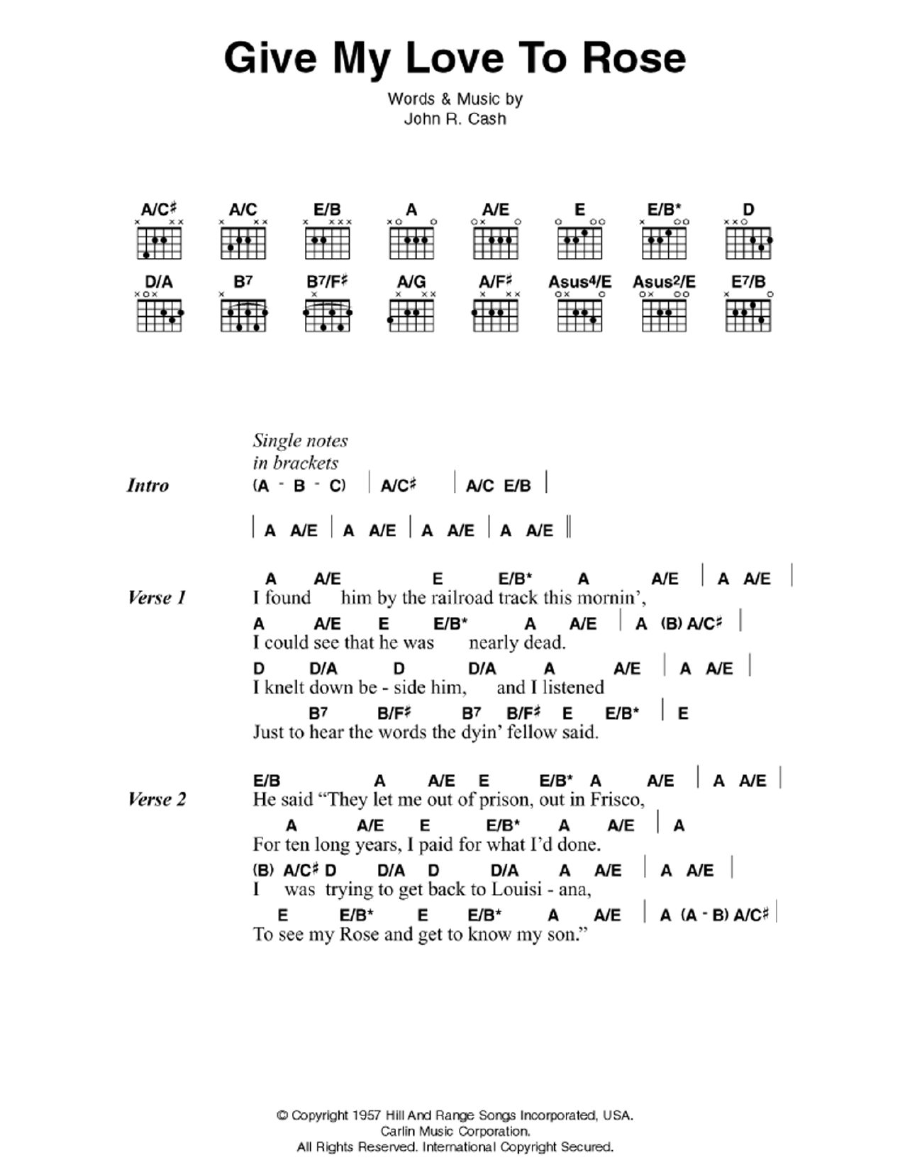 Give My Love To Rose Sheet Music