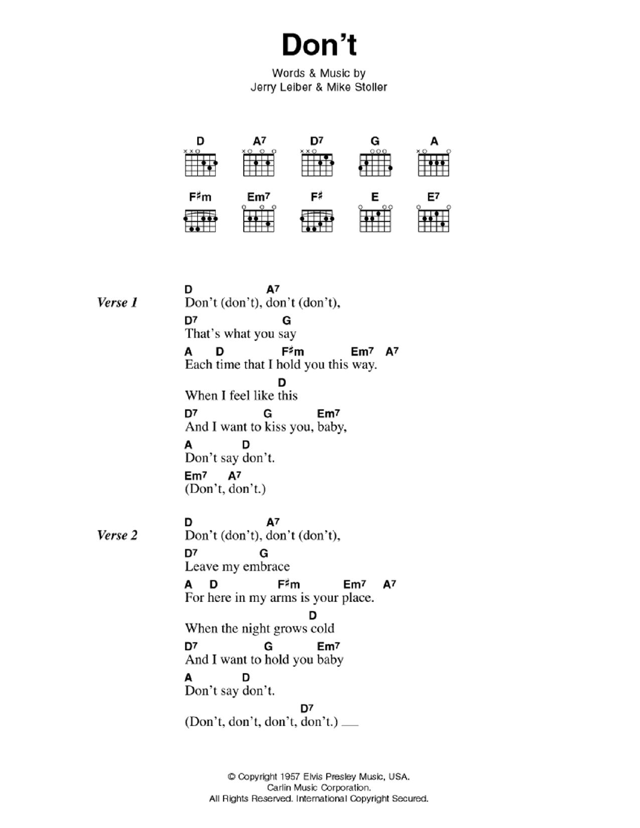 Don't Sheet Music   Elvis Presley   Guitar Chords/Lyrics